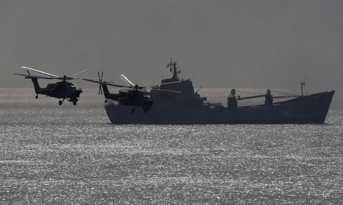 Russia's navy ships and helicopters take part in a military exercise called Kavkaz (the Caucasus) 2016 at the coast of the Black Sea in Crimea on Sept. 9, 2016. (VASILY MAXIMOV/AFP/Getty Images)