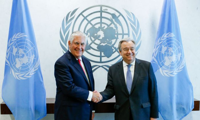US Secretary of State Rex Tillerson (L) shakes hands with United Nations Secretary General Antonio Guterres before a meeting at the UN headquarters in New York City on April 28, 2017.  (Eduardo Munoz Alvarez/Getty Images)