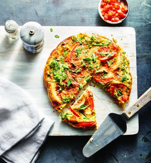 Broccolini, red pepper, and roasted garlic frittata. (Jennifer Causey)