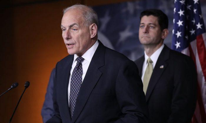 John Kelly (L), Secretary of Homeland Security, speaks at Speaker of the House Paul Ryan's weekly press conference at the U.S. Capitol in Washington on June 29, 2017. (Win McNamee/Getty Images)