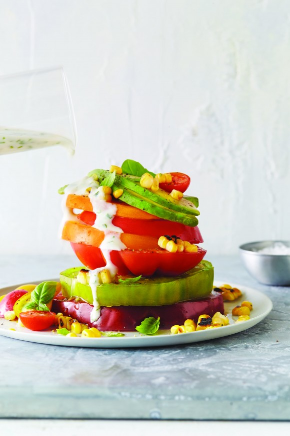 Tomato stack with corn and avocado. (Alison Miksch)
