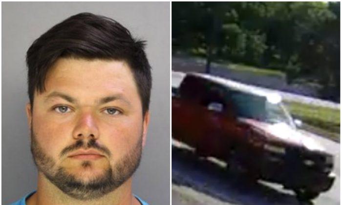 L: David Desper, 28, accused of murder of Bianca Nikol Roberson, 18; R: Desper's red pick up truck. (West Goshen Township Police Department)