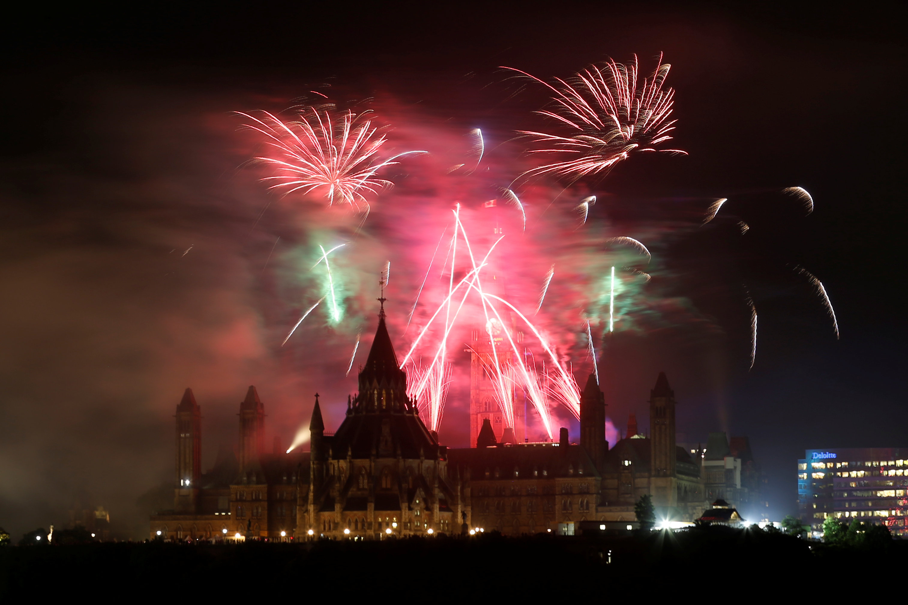 Fireworks explode over Ottawa's Parliament Hill as part of Canada Day celebrations as the country marks its 150th anniversary since confederation, in Gatineau, Quebec, Canada on July 1, 2017. (REUTERS/Chris Wattie.)