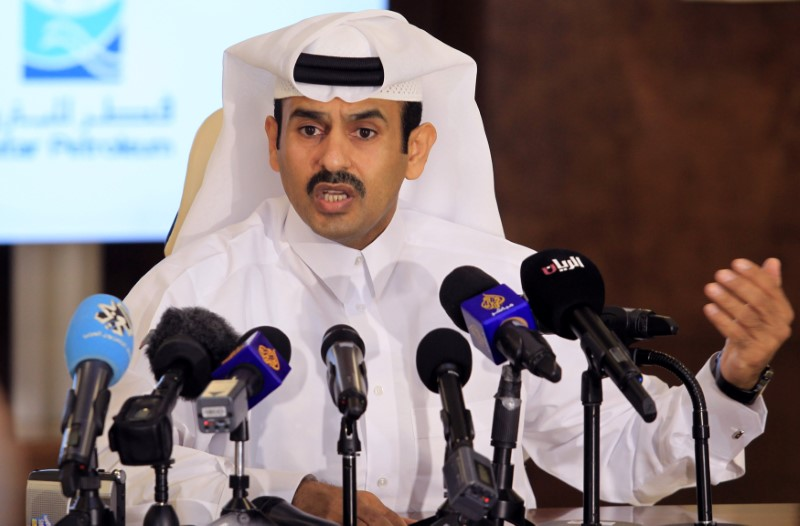 Saad al-Kaabi, chief executive of Qatar Petroleum, gestures as he speaks to reporters in Doha, Qatar on July 4, 2017. (REUTERS/Naseem Zeitoon)