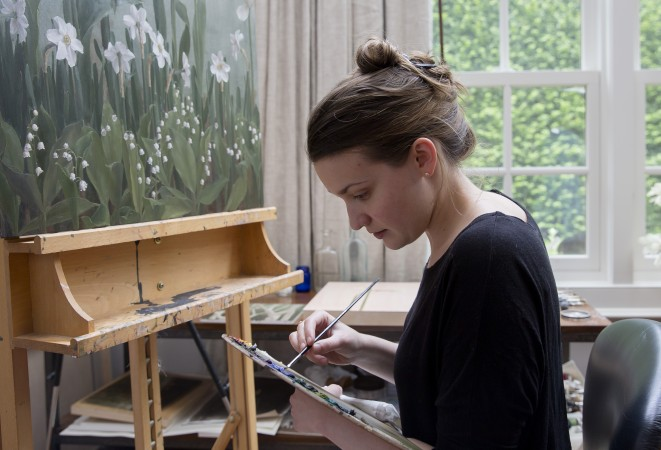 Katie G. Whipple in her studio in Southampton on June 23, 2017. (Samira Bouaou/The Epoch Times)