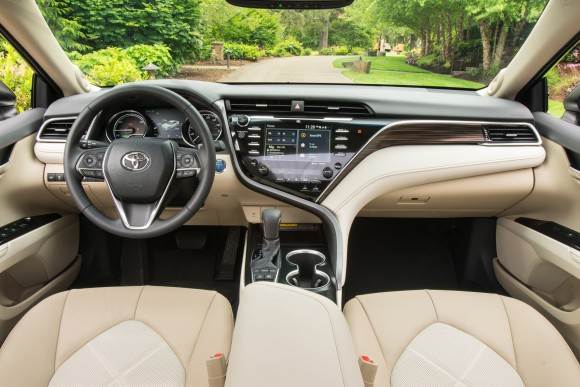 The interior of the 2018 Camry XLE. (Courtesy of Toyota)