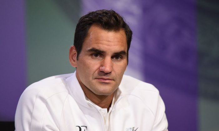 Switzerland's Roger Federer addresses a press conference in the Main Interview Room at Wimbledon on July 1, 2017, ahead of the Championship 2017 starting on July 3. (FLORIAN EISELE/AFP/Getty Images)