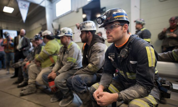 Coal miner Jaden Fredrickson, 26, of Cheat Lake, W.Va., waits prior to the arrival of U.S. Environmental Protection Agency Administrator Scott Pruitt who visited the Harvey Mine on April 13, 2017 in Sycamore, Pennsylvania. (Justin Merriman/Getty Images)