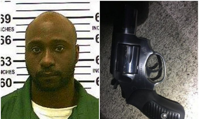 L: Alexander Bonds. (New York Department of Corrections); R: Revolver recovered at the scene after Bonds allegedly murdered an NYPD officer and was shot by police. (NYPD)