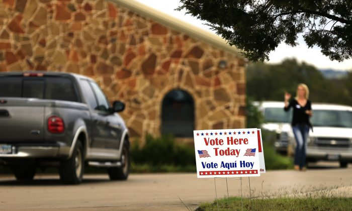 Voters arrive at a polling place to cast their ballots in Brock, Texas on Nov. 8, 2016. After a contentious campaign season, Americans go to the polls today to choose the next president of the United States. (Ron Jenkins/Getty Images)   Voters arrive at a polling place to cast their ballots on November 8, 2016 in Brock, Texas.