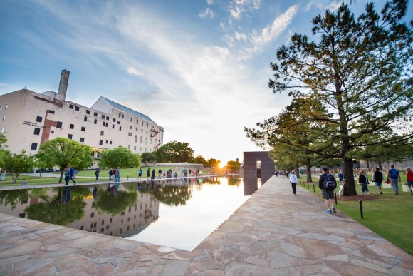 The reflecting pool at the Oklahoma City National Memorial and Museum. The museum commemorates the bomb attack on the Alfred P. Murrah Federal Building in downtown Oklahoma City in 1995. (Oklahoma City Convention & Visitors Bureau)