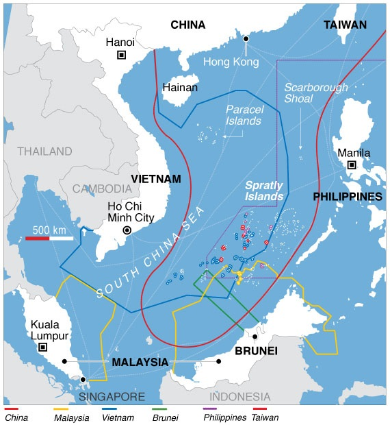 Territorial claims in the South China Sea. (VOA News)