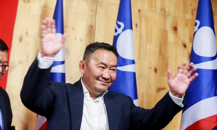 Khaltmaa Battulga, from the main opposition Democratic Party (DP), arrives to a press conference after he won the presidential election in Ulan Bator on July 8, 2017. (Byambasuren Byamba-Ochir/AFP/Getty Images)