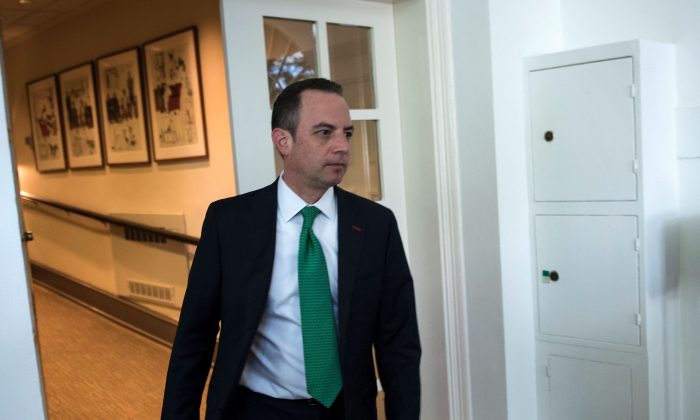 White House Chief of Staff Reince Priebus arrives before US President Donald Trump announces the US will withdraw from the Paris accord in the Rose Garden of the White House on June 1, 2017 in Washington, DC. (Brendan Smialowski/AFP/Getty Images)
