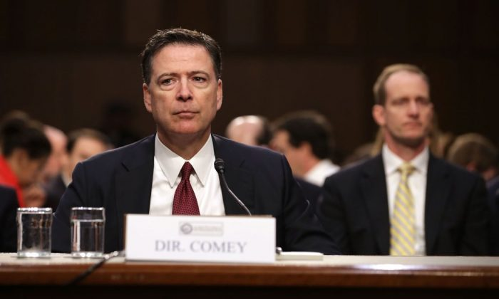 Former FBI Director James Comey testifies before the Senate Intelligence Committee in the Hart Senate Office Building on Capitol Hill in Washington, D.C., on June 8, 2017. (Chip Somodevilla/Getty Images)