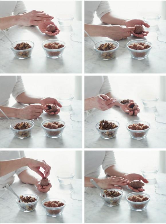 Photographs show how to form the Kibbeh (Alexandra Grablewski).