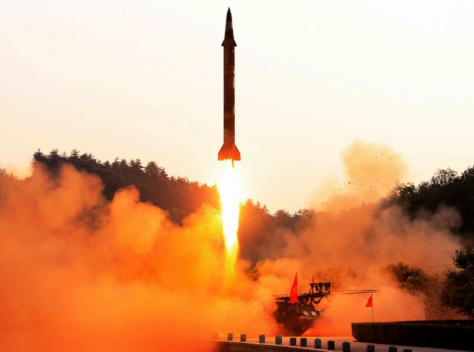 The test fire of a ballistic missile at an undisclosed location in North Korea in an undated photo released by North Korea's official Korean Central News Agency on May 30. (STR/AFP/Getty Images)