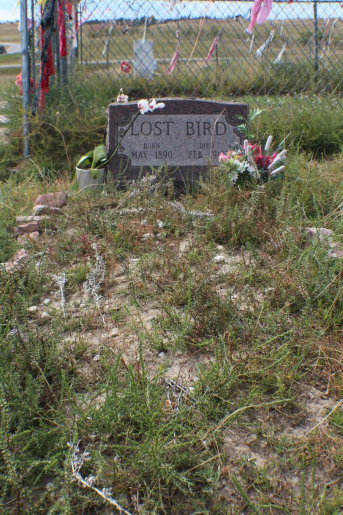 The grave of Lost Bird. The infant was the only survivor of the massacre at Wounded Knee. She was transported to California and lived in foster homes. After her death her body was buried in California. It was exhumed and is now buried in the cemetery overlooking the site where her mother and all the members of Big Foot's band were massacred in 1890. (Myriam Moran copyright 2014)
