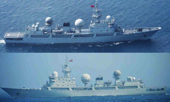 The Tianlangxing, a Chinese People's Liberation Army-Navy Type 815 Dongdiao-class auxiliary general intelligence ship, passed through the Tsugaru Strait off the coast of Japan on July 2, and stayed off the Alaskan coast during the July 11th test of a U.S. missile defence system. (Courtesy Japanese Ministry of Defence)