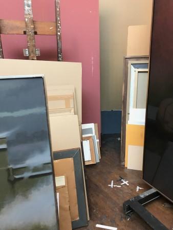 Paintings by Harvey Dinnerstein in his studio in Brooklyn, New York, on May 31, 2017. (Milene Fernandez/The Epoch Times)