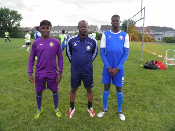(From L to R): Goalkeeper Joshi Kanane, X-Uvia coach Richard Morris, and striker Sam Ogunremi at Samuel Genest High School in Ottawa on June 27, 2017. (Rahul Vaidyanath/The Epoch Times)