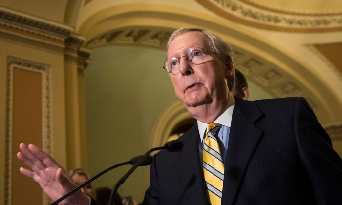 Senate Majority Leader Mitch McConnell (R-KY) speaks during a press conference after a closed-door Senate GOP conference meeting on Capitol Hill, June 27, 2017 in Washington, DC. (Drew Angerer/Getty Images)
