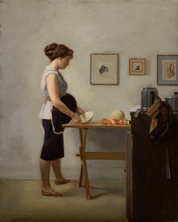 """In the Kitchen,"" 1960–61, by Harvey Dinnerstein. Oil on canvas, 20 inches by 16 inches. (Courtesy of Harvey Dinnerstein)"