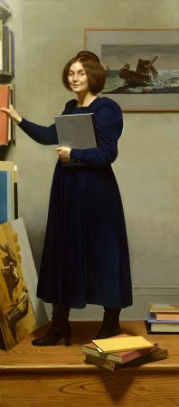 """""""The Art Historian, (Lois Dinnerstein),"""" 1987, by Harvey Dinnerstein. Oil on canvas, 83 1/4 inches by 36 3/4 inches. (Courtesy of Harvey Dinnerstein)"""