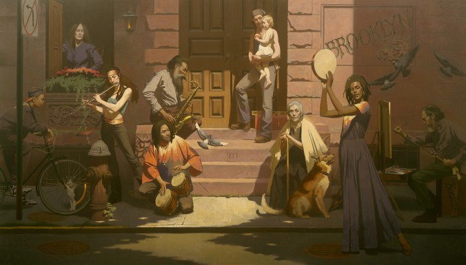 """""""Past and Present,"""" 1994, by Harvey Dinnerstein. Oil on canvas, 96 1/4 inches by 172 1/4 inches. (Courtesy of Harvey Dinnerstein)"""