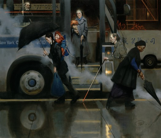 """""""Rainy Evening, Lower Eastside,"""" 2001, by Harvey Dinnerstein. Oil on canvas, 45 inches by 60 inches. (Courtesy of Harvey Dinnerstein)"""