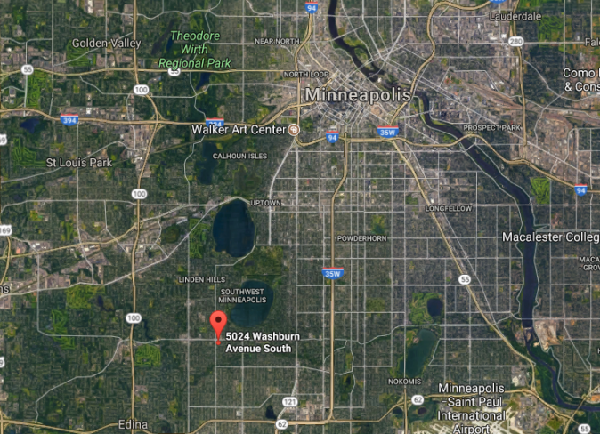 Approximate location of where Justine Ruszczyk Damond was shot by a police officer in Minneapolis on July 15, 2017. (Google Maps)