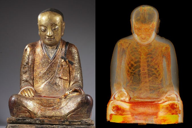 The mummy of Buddhist Master Liuquan, shown inside a Buddha statue via CT scans. (M. Elsevier Stokmans, Courtesy of Drents Museum)