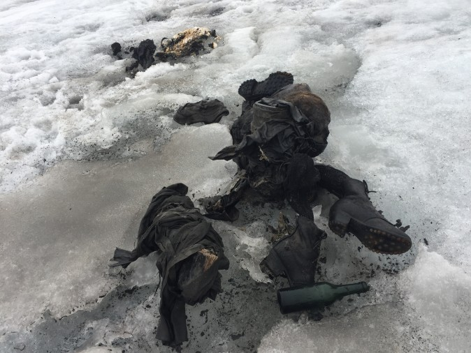 The remains of what are thought to be a couple who disappeared in Switzerland in 1942. The remains were found on Tsanfleuron glacier on July 13, 2017, (Courtesy of Glacier 3000)