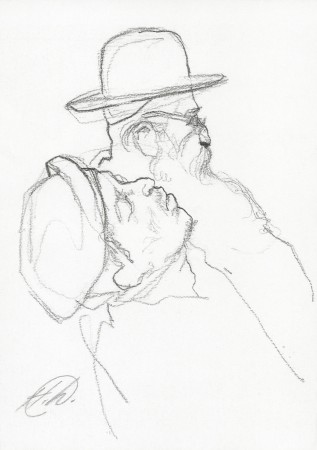 """""""Subway Sketch,"""" 1986, by Harvey Dinnerstein. Graphite on paper, 8.5 inches by 6 inches. (Courtesy of Harvey Dinnerstein)"""