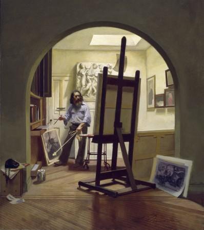 """""""The Studio,"""" 1978, by Harvey Dinnerstein. Oil on board, 23.5 inches by 20.5 inches. (Courtesy of Harvey Dinnerstein)"""