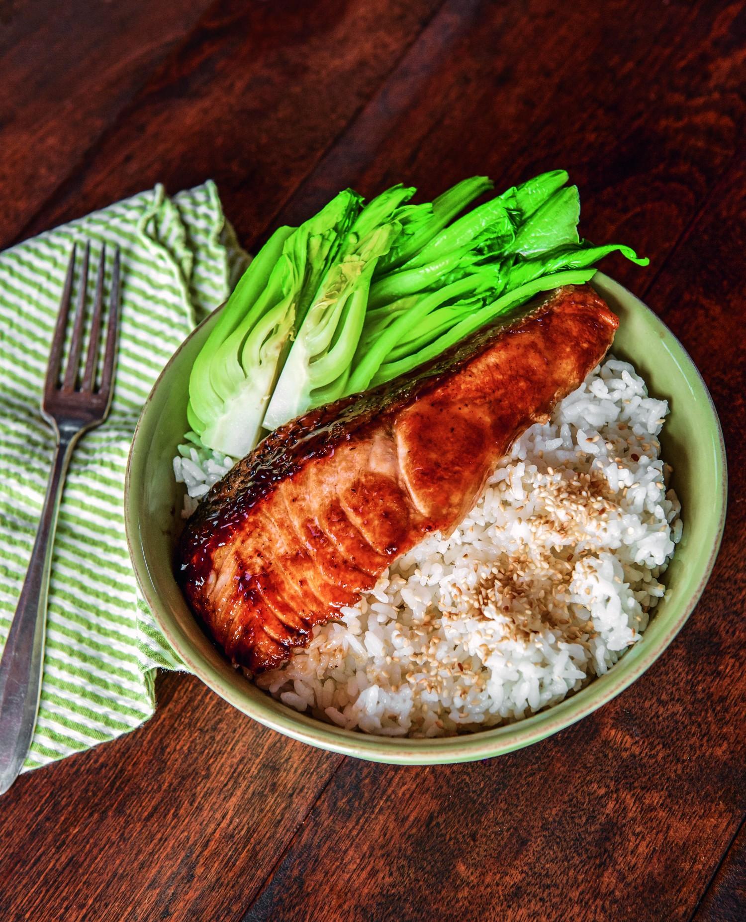 Salmon teriyaki. (Ken Goodman)