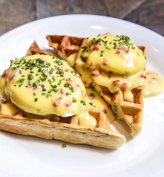 Cheddar, waffles, and eggs at Loring Place. (Liz Barclay)