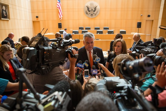Rep. Peter King (R-Seaford) speaks with media after a congressional hearing on MS-13 gang violence in Central Islip, Long Island, N.Y., on June 20, 2017. (Benjamin Chasteen/The Epoch Times)