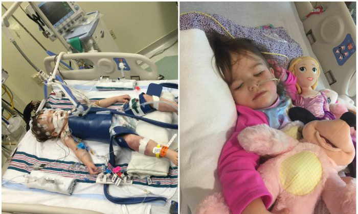 Eden Carlson at hospital (L) and after being released from hospital. (Courtesy of the Carlson family)