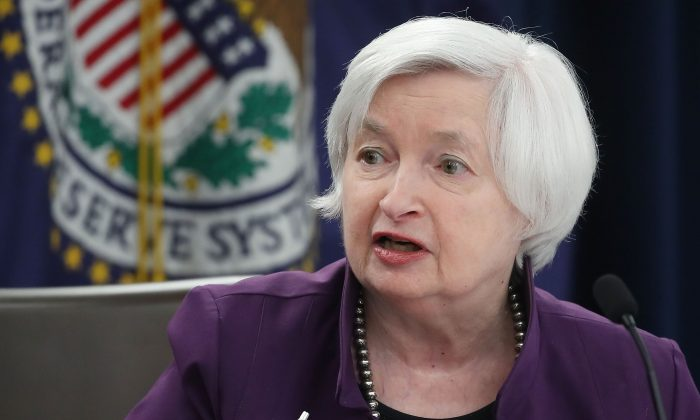 Fed chair Janet Yellen holds a news conference following the announcement of a rate hike on June 14, 2017 in Washington, D.C. The Fed didn't provide a start date for when it will begin to reduce its bond holdings as part of its July 26 interest rate decision. (Mark Wilson/Getty Images)