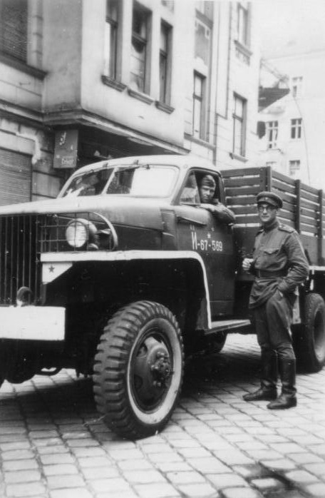 A U.S.-produced 2-ton Studebaker truck, here pictured in Soviet service in Berlin, May 1945. Thousands of vehicles sent to the Soviet Union through the Lend-Lease program aided Stalin in his conquest of eastern Europe. (Bundesarchiv, Bild 204-018 / CC-BY-SA 3.0)