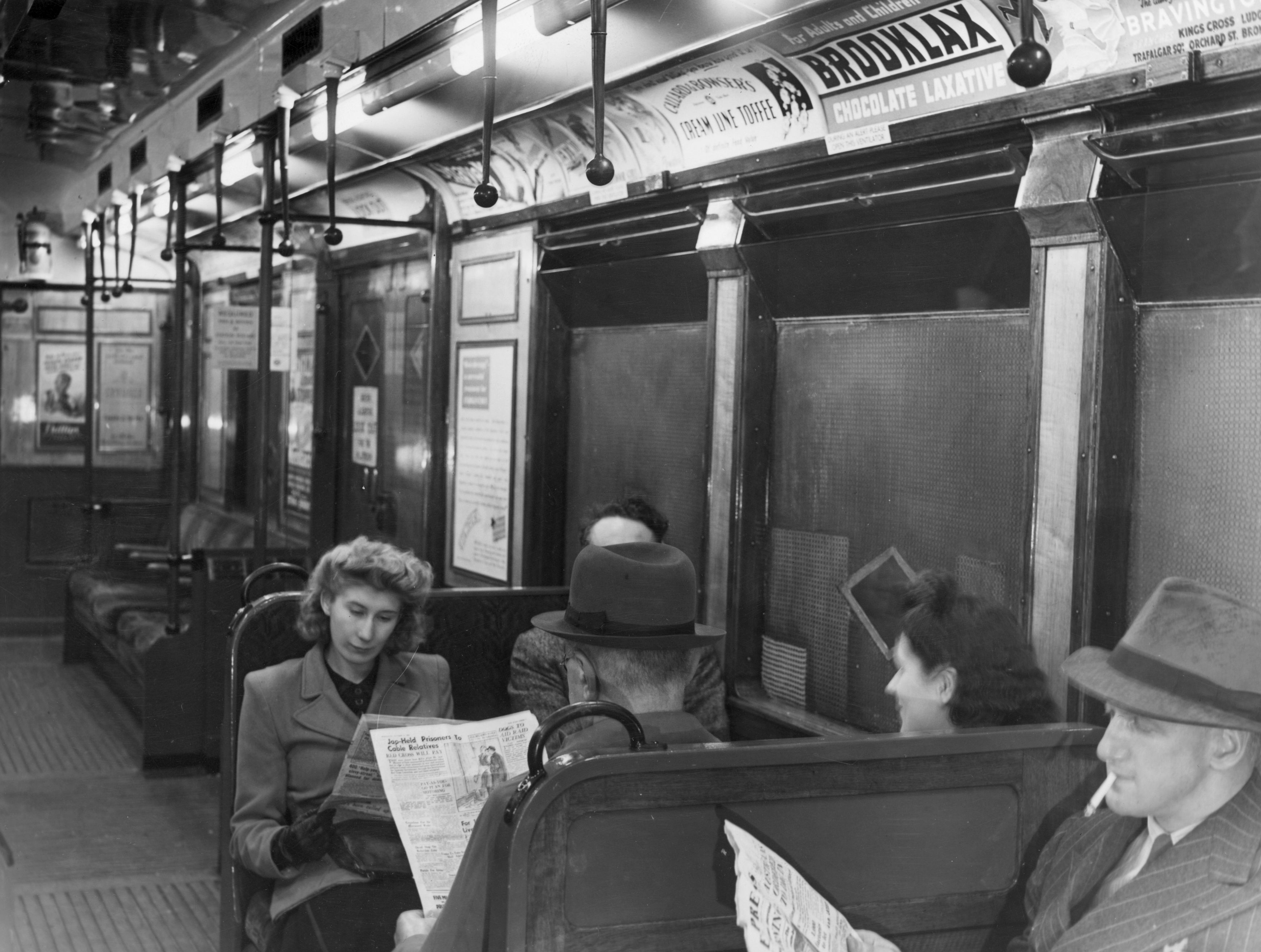 An underground train on the District Line in London, equipped with a new system of lighting on Oct., 13, 1944.  (Topical Press Agency/Getty Images)