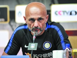 Inter Milan boss Luciano Spalletti at a press conference in Nanjing, in China's eastern Jiangsu Province, on July 23. In June, the soccer club announced it was being bought by Chinese firm Suning. (STR/AFP/GETTY IMAGES)