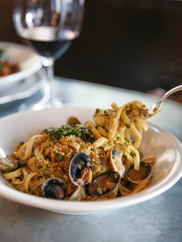 Linguini with littleneck clams, white wine, basil pesto, and breadcrumbs. (Katie June Burton)