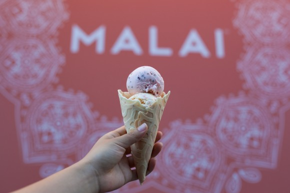 Scoops of Rose with Cinnamon-Roasted Almonds and Carrot Halwa at Malai. (Annie Wu/The Epoch Times)