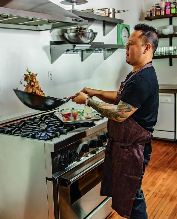 Chef Jet Tila makes his signature drunken noodles. (Ken Goodman)