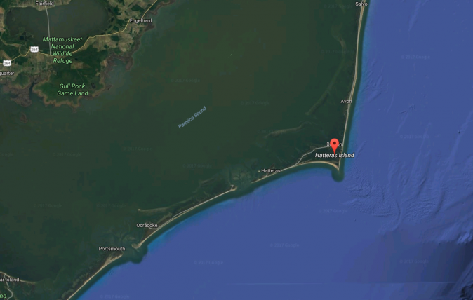 Hatteras and Ocracoke Islands, NC. (Google Maps)