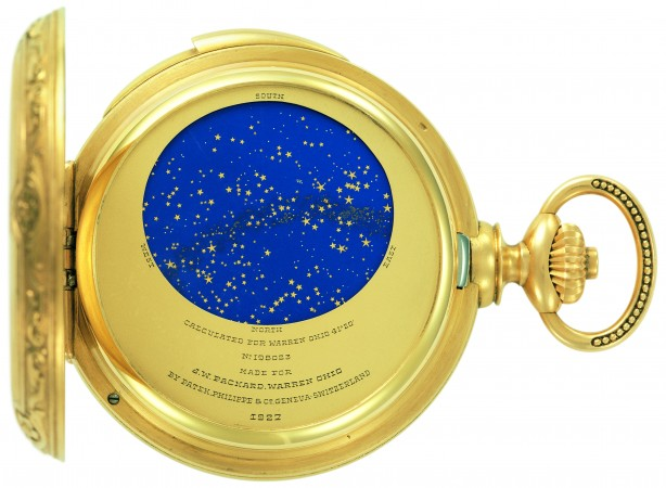 James Ward Packard's astronomical pocket watch, created by Patek Philippe, featuring a celestial sky chart. (Courtesy of Patek Philippe)