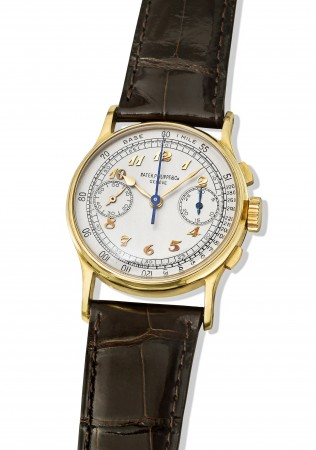 Patek Philippe watch, 1948. Reference 130J owned by baseball sports icon, Joe DiMaggio (1914–1999).  It was reportedly given to Joe DiMaggio by the Yankees. (Courtesy of Patek Philippe)
