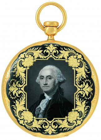 """Patek Philippe's open-faced pocket watch, Ref. P1412, with an enameled portrait of George Washington. This watch was shown at the 1851 """"Universal Exhibition"""" in London. (Courtesy of Patek Philippe)"""